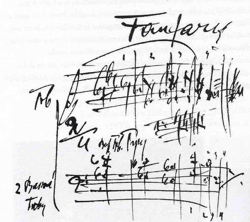Fanfares of the Sinfonietta Janáček's autographed score.