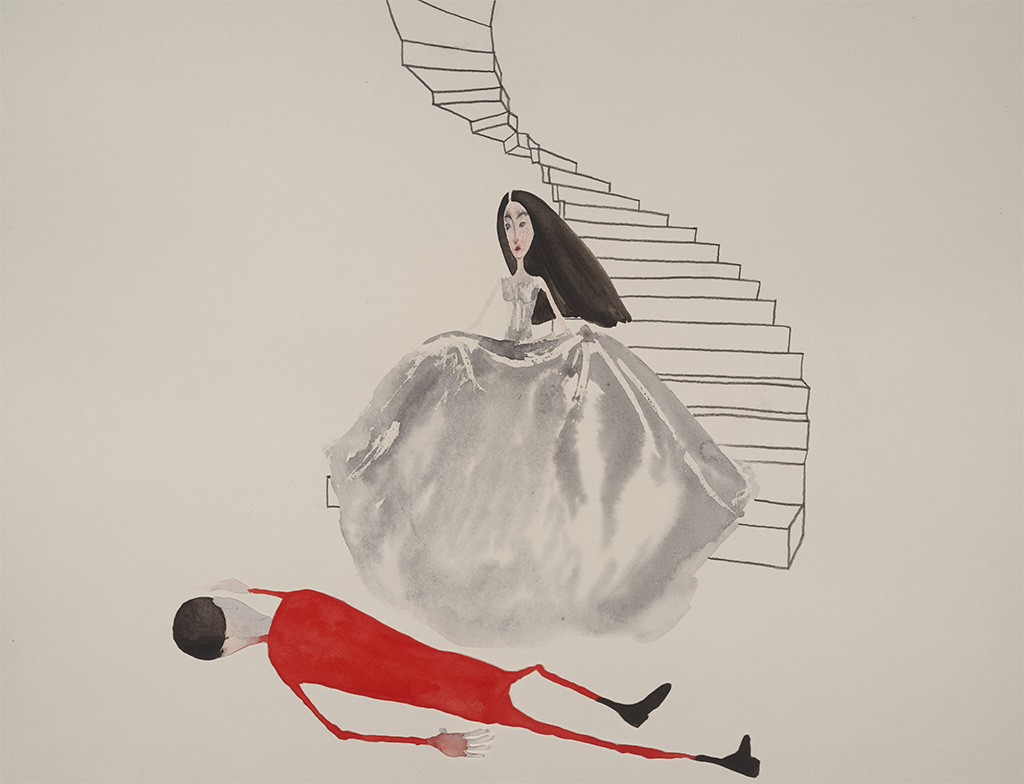 Woman and Acrobat at the bottom of the stairs